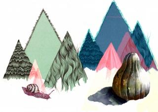 abstract mountains with a snail an pumpkin.jpg