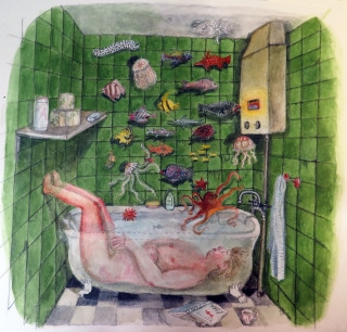 Woman lying in bathtub dreaming of fish.jpg