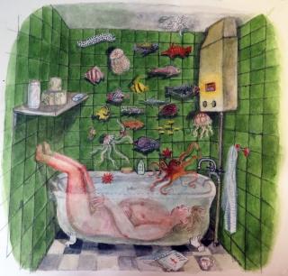 Woman lying in bathtub dreaming of fish