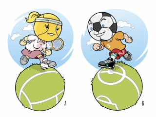 Tennis and Soccer 'BallHeads' run on a spherical field.jpg