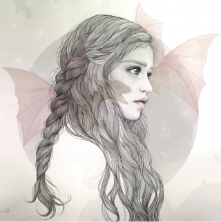 Woman with long hair looking to the side with a dragon