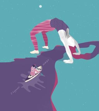 Ship sailing on the hair with a girl doing gymnastic bridge.jpg