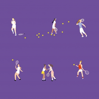 Woman players are playing tennis on the championship Wimbledon