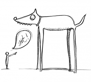 ORDERING DOG...SIT!