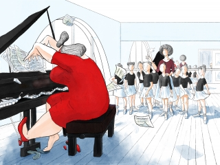 The emotional women in red dress plays expressively on the grand piano at the ballet class with wondered girls and teacher, watching on her