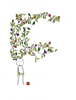 character with branches, leaves and flowers growing out of their head.jpg