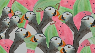 Puffins and watermelon lanterns