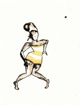 woman squatting in short yellow stripy dress