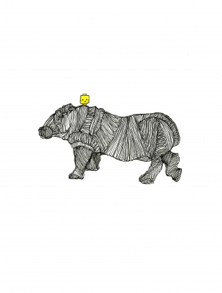 hippopotamus and a lego head