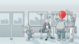 """Worries Me"" - A ""balloon man"" on the metro, among ""sharp"" passengers.jpg"