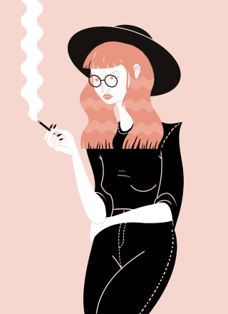 Smoking girl .png