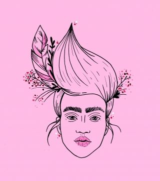Girl on pink background with flowers in her hair