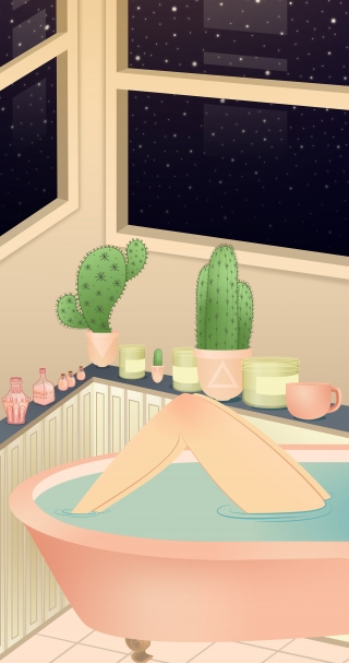 woman taking a relaxing bath under the stars.jpg