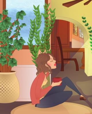 Girl at home drinking cofee.jpg