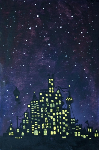 Night city with stars