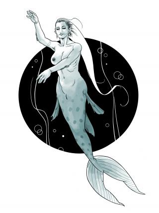 Realistic mermaid swims in dark waters