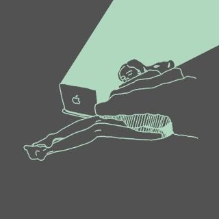 She sleeps girl lighten by a mac
