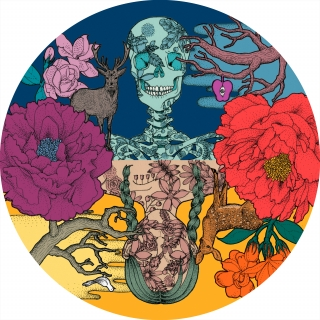 On the other side-  skull and girl among the flowers .jpg