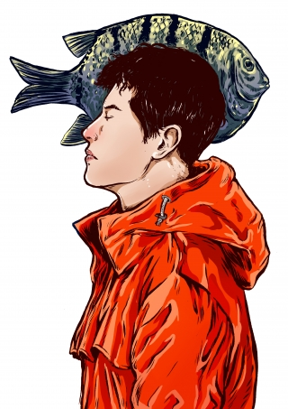 Young man with eyes closed, dressed in red and a big fish in the background