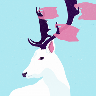 White deer with shopping bags .png