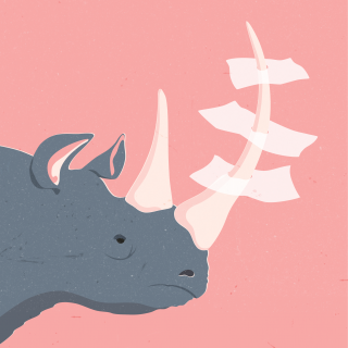 Rhino with papers spiked on his horn.png