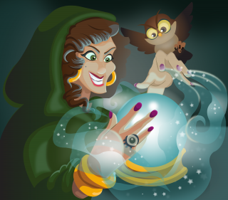 Witch using magic crystal ball with owl.