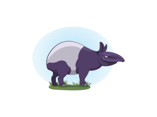Tapir standing in grass looking to the right..png