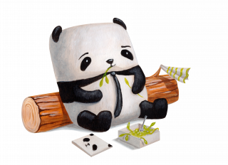 lazy panda wearing a tie on lunch break with lunch box.png