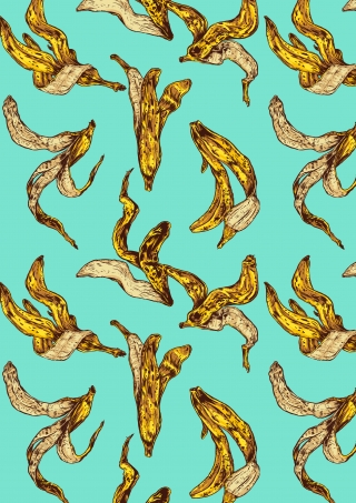 Pattern of banana peels falling on a blue background