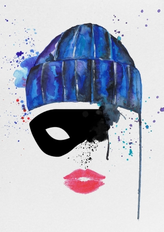 Woman in the blu cap and the black mask