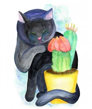 Black cat and cactus
