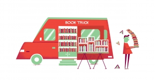 Red book truck filled with books