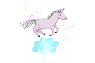 Unicorn jumping on cloud