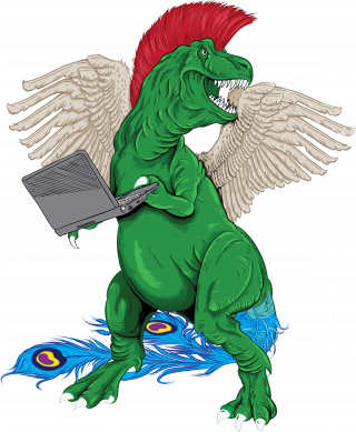 T-rex in costume holding computer