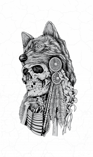 Skeleton wearing wolf headdress