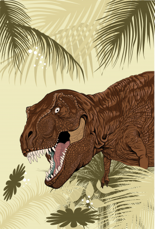 T Rex in palm leaves