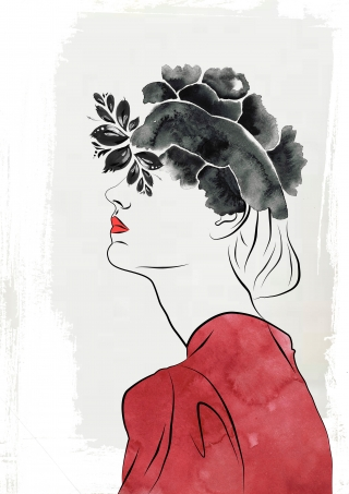 Woman in red with the dark flowers.jpg