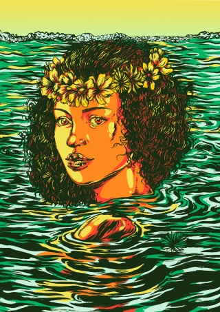 Summer girl swimming in a lake with flower braid in her hair