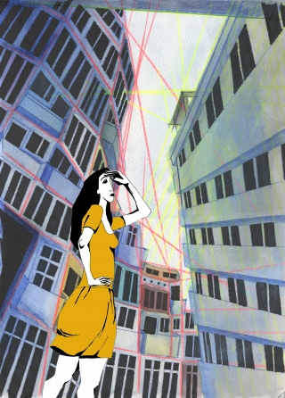 Girl in an orange dress shading her eyes on a city street between tall buildings..jpg