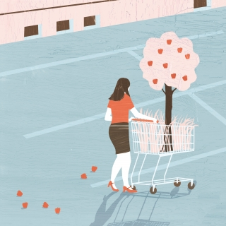 A woman is buying an apple tree..jpg