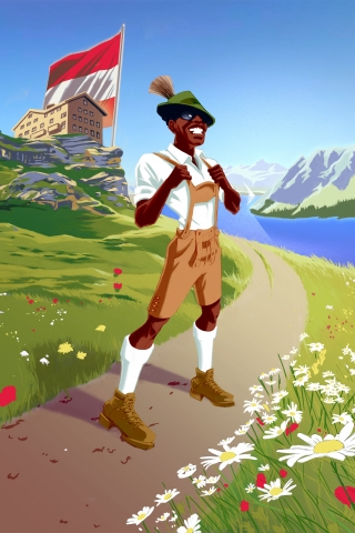 Visit Austria:  A smiling black man in stereotypical austrian outfit and landscape .jpg