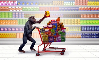 Shopping Monkey: A female monkey pushing a shopping cart, taking some love off the shelf .jpg