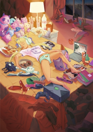Declining Nude: A sexy spoiled brat lying on a bed littered with consumerist stuff .jpg