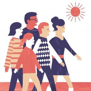 A group of people is walking with the sun.jpg