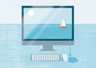 A boat is sailing on the desktop.jpg