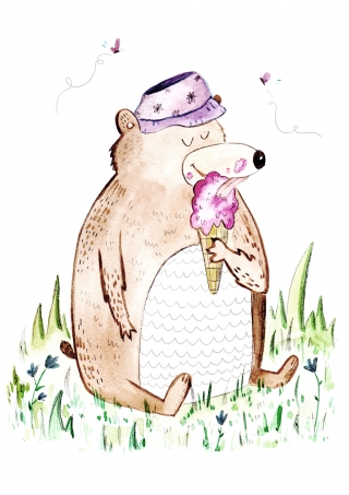 Bear eating icecream