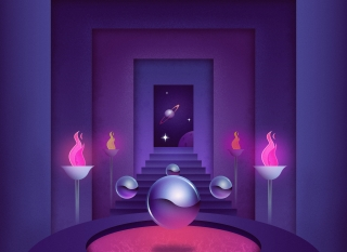 Chrome balls floating between torchs in abstract space.jpg