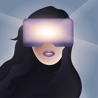 Woman face in Virtual Reality helmet
