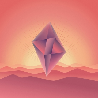 Abstract crystal floating in the sky in the desert.jpg