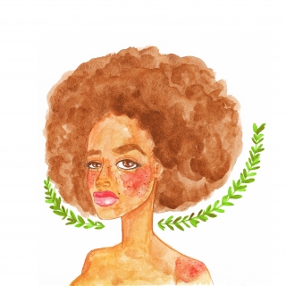 Watercolor portrait of a beautiful black woman